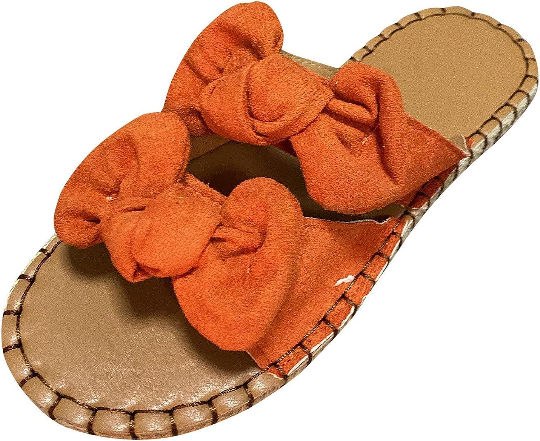 POTO Women's Slide Sandals Casual Summer Bowknot Beaded Platform Flat Sandals Peep Toe Slip On Platform Shoes Flip Flops