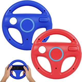 Steering Wheel for Wii Controller, PowerLead 2 pcs Racing Wheel Compatible with Mario Kart, Game Controller Wheel for Nint...