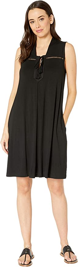 Solid Jersey Sleeveless Dress with Pockets