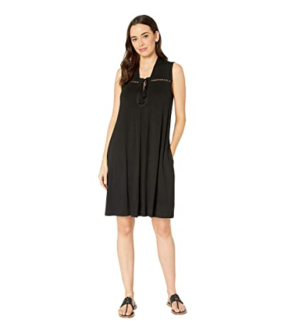 Tribal Solid Jersey Sleeveless Dress with Pockets (Black) Women