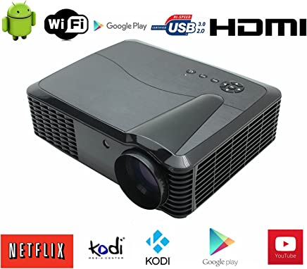 3D Proyector WiFi 1080P Full HD Video Proyector LED Proyector Cine en casa Proyector Multimedia Proyectores WLAN LCD Proyector Android retroproyector WiFi Airplay Miracast WLAN DLAN Android iOS