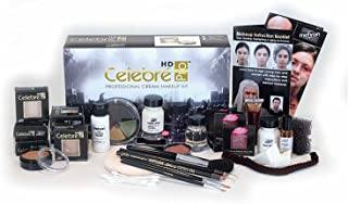 Mehron Celebré Professional HD Cream Makeup Kit |Complete Makeup Artist Beauty Set for Theatre, Stage, Movies, Special Effects, Videos, Photography|Skin, Eyes & Hair Contouring (Caucasian)