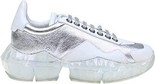 JIMMY CHOO Luxury Fashion Womens DIAMONDFLAK Silver Sneakers |