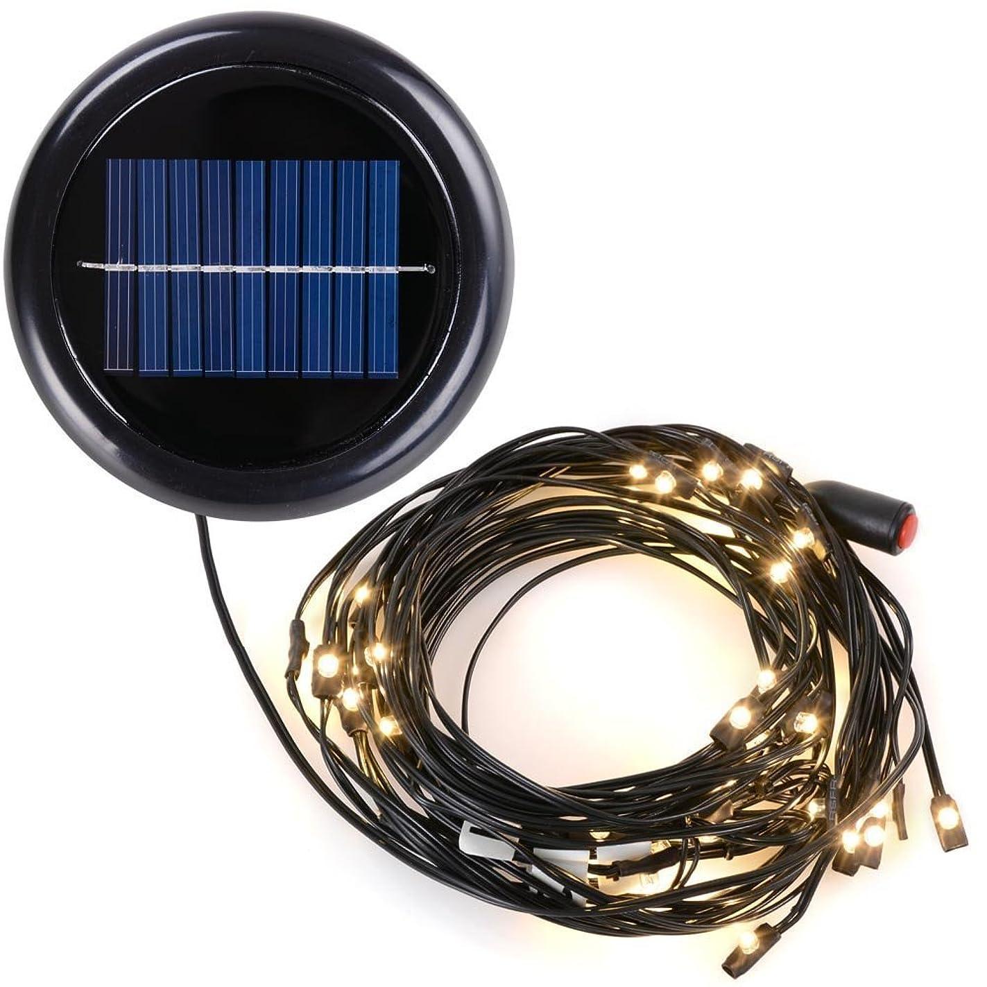 AMPERSAND SHOPS 10-Ft. 8-Rib Outdoor Patio Umbrella Solar-Powered LED String Lights (Warm White)