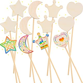 12 Pieces Make Your Own Princess Wand Magic Fairy Wand Stick Unfinished Wooden DIY Crafts Moon Star Heart Crown Magical Wa...