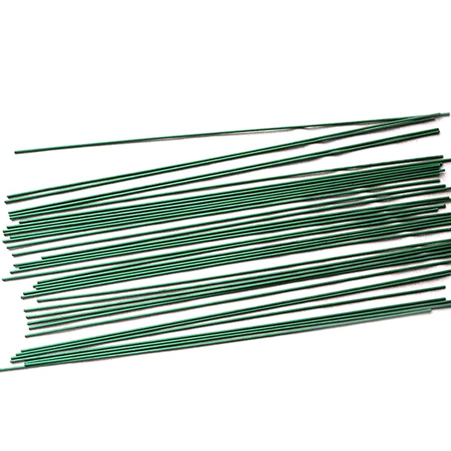 50 Pcs 2# Green Floral Tape Iron Paper Wrapped Wire Artificial Flower Stub Stem Handmade DIY Craft 16 Inches/40cm