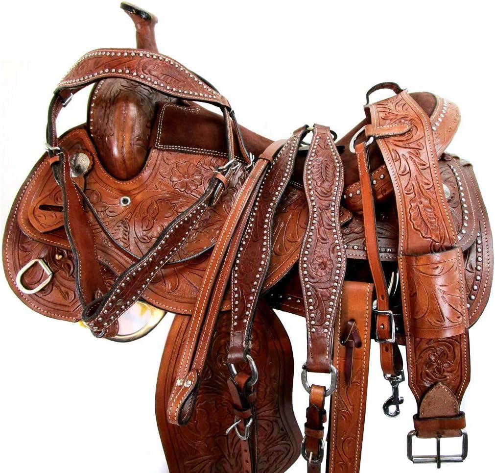 16 15 Western Rodeo Saddle Barrel Racing Pleasure Trail Ride Leather TACK Set