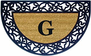 Nedia Home Acanthus Border with Half Round Rubber/Coir Doormat, 22 by 36-Inch, Monogrammed G