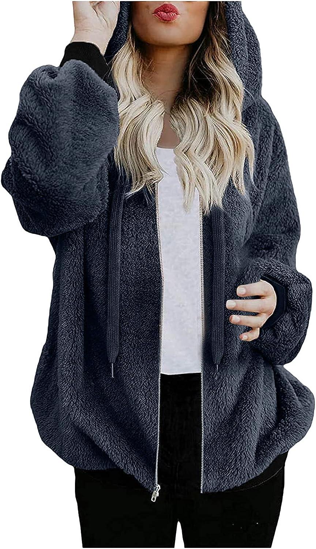 Womens Jacket Women Hooded Sweatshirt Coat Winter Warm Wool Zipper Pockets Cotton Coat Outwear