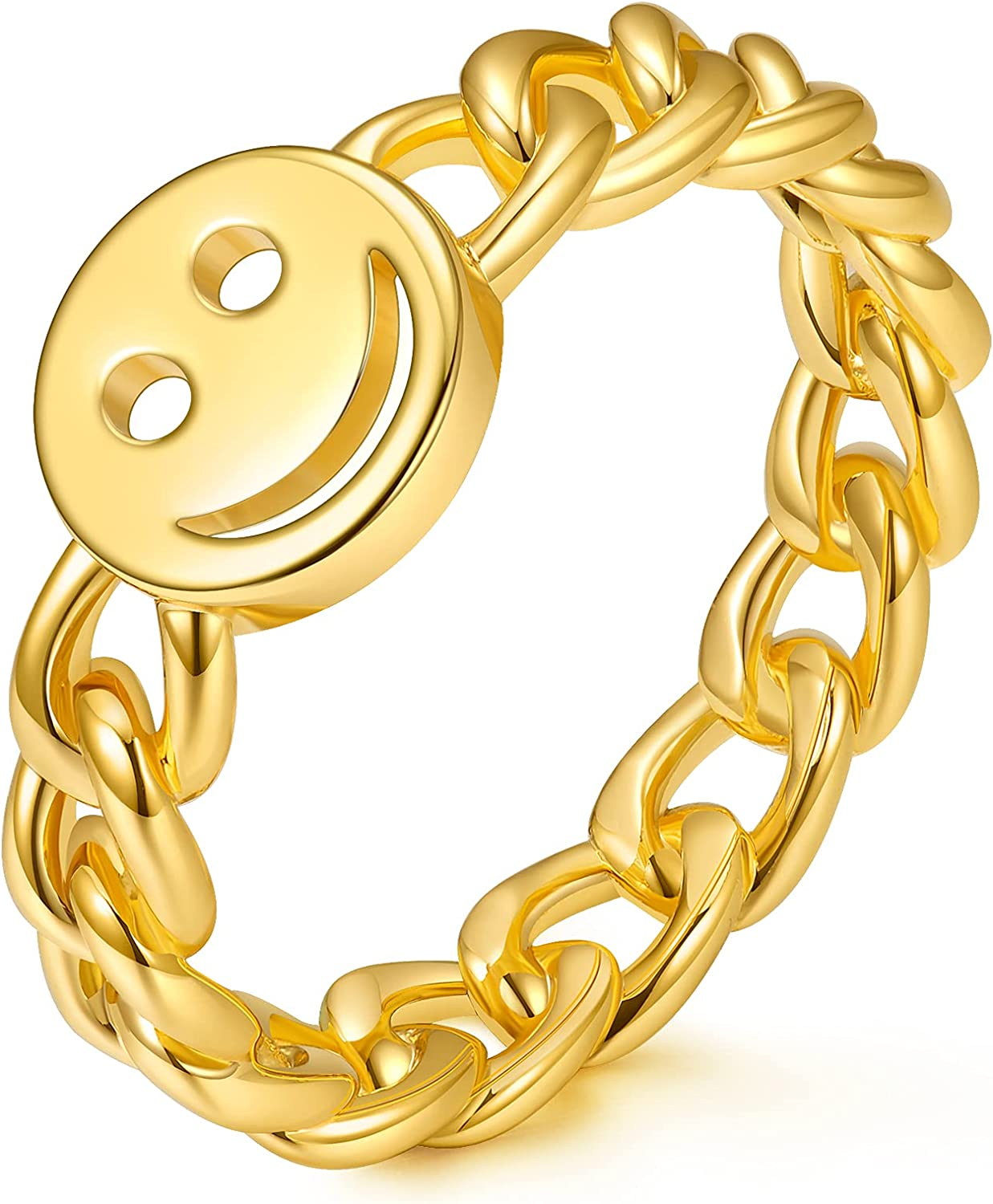 AllenCOCO 18K Gold Plated Smiley Face Ring with Chain Link Happy Face Ring Stackable Rings for Women