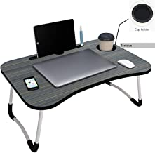 Exelcius® - Foldable Wooden Laptop Desk for Bed with Cup Holder, Study Table, Bed Table, Breakfast Table, Foldable and Por...