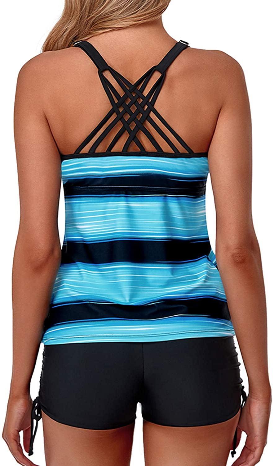 Yonique Womens Tankini Swimsuits Athletic Two Piece Tummy Control Bathing Suits with Shorts Modest Tank Tops