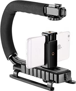 Neewer U/C-Shape Video Action Handheld Stabilizer Handle Grip with Smartphone Holder and Hot-Shoe Mount for Smartphone, Canon Nikon Sony DSLR Camera, Camcorder, LED Video Light