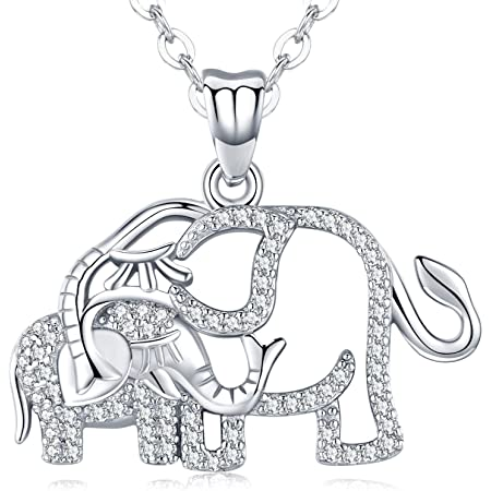 FUJIN 925 Sterling Silver Lovely Elephant Animal Pendant with Birthstone Lucky Elephant Necklace