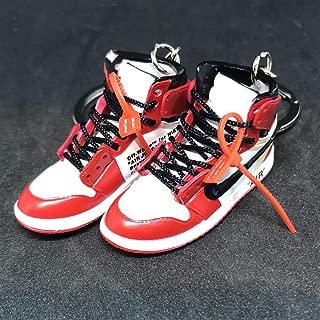 Pair Air Jordan 1 I High Retro Off White Chicago Bulls OG Sneakers Shoes 3D Keychain Figure