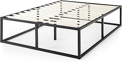 Cadre de lit plateforme en métal 46 cm Joseph ZINUS | Sommier | Support à lattes en bois | Rangement sous le lit | 160 x 200 cm | Noir
