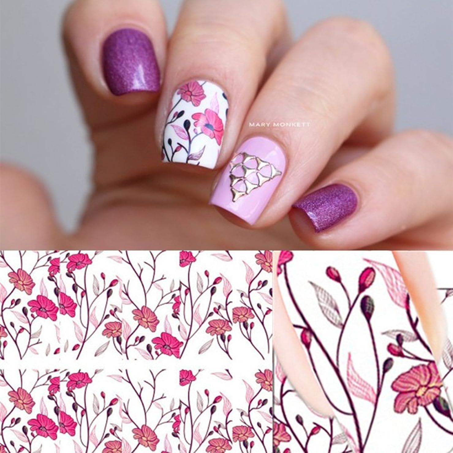 示す線カビピンク花ウォーターシール ネイルシール フェザー 貼るだけで簡単にネイルウォーターステッカー 埋め込み用 カラフルシール/即納 レジンパーツ