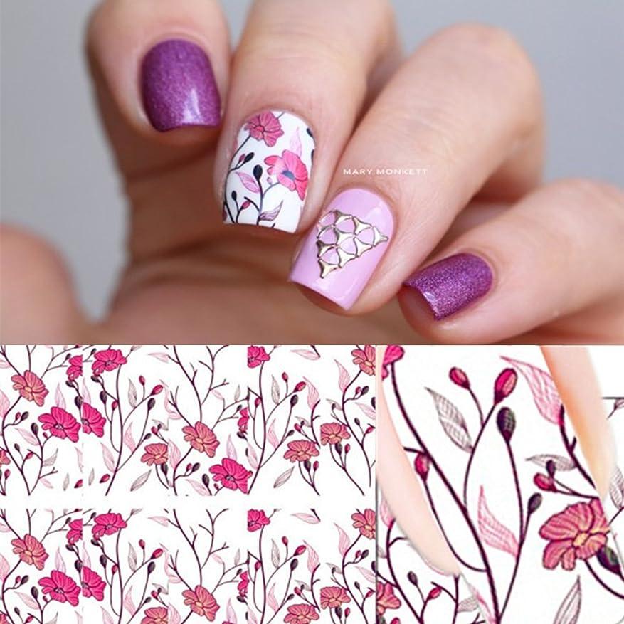 ジャグリング幅優雅なピンク花ウォーターシール ネイルシール フェザー 貼るだけで簡単にネイルウォーターステッカー 埋め込み用 カラフルシール/即納 レジンパーツ