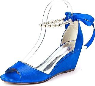 LGYKUMEG Chaussures de mariage pour femmes talon compensé bout ouvert sandales de mariage Satin Imitation perle ruban crav...