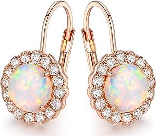 Barzel White Gold Plated Created Fire Opal & Cubic Zirconia Flower Huggie Earrings