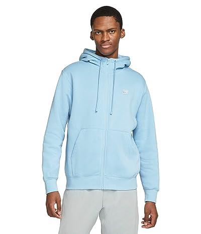 Nike NSW Club Hoodie Full Zip (Psychic Blue/Psychic Blue/White) Men