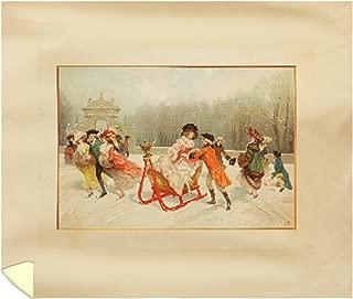 Winter Romance Vintage Poster (Artist: Rossi) France c. 1914 62046 (88x104 King Microfiber Duvet Cover)