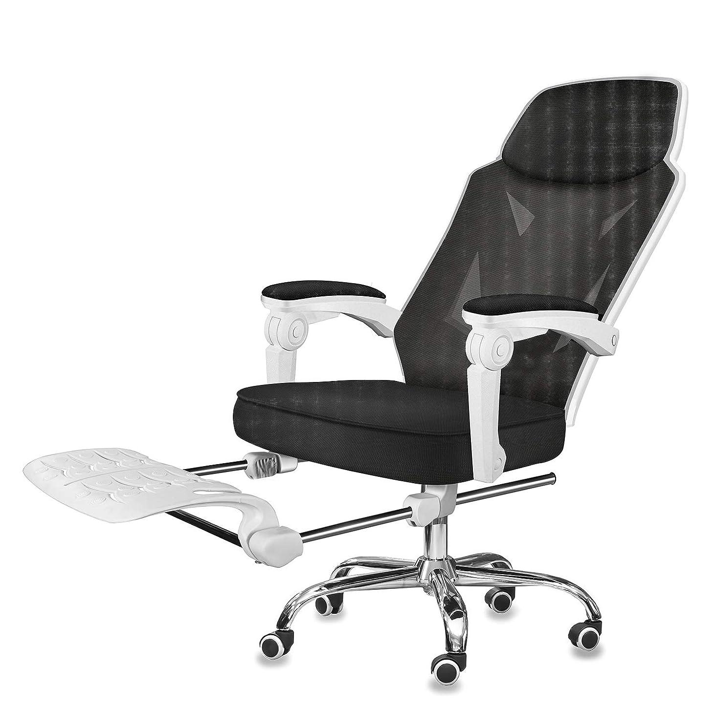 に勝る彼らの通常オフィスチェア ゲーミングチェア デスクチェア パソコンチェア ハイバック 連動肘 メッシュ 通気性 人間工学 リクライニング式 椅子 静音キャスター 360°回転可 多機能 フットレスト付き