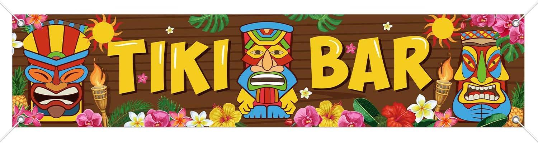 Tiki Banner Happy Luau Party Decoration, Tiki Totem Tiki Bar Alo