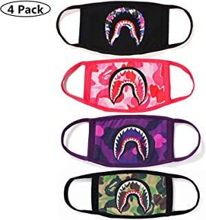 NF orange 4 Pack Shark Black Purple Pink Camouflage Mouth Face Mask Cotton Mouth-Muffle