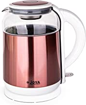 JOYA ELECTRIC KETTLE 1.8 LITERS GLASS & S/S COLOR: WHITE & ROSE, 19-160