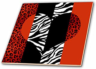 3dRose Red, Black, Orange and White Animal Print - Leopard and Zebra Heart - Ceramic Tile, 4-Inch (ct_35439_1)