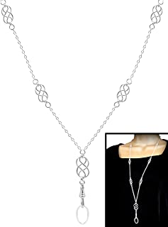 Brenda Elaine Jewelry | Real Silver Plate | Women's Fashion Lanyard Necklace for ID Badge Holders | 32 Inch Silver Chain with Multiple Silver Celtic Knots & Rear Lobster Clasp