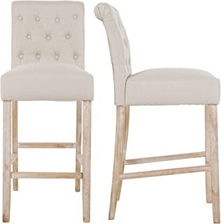 NOBPEINT Fabric Upholstered Barstool Solid Wood Legs 30inches, Tan(Set of 2)