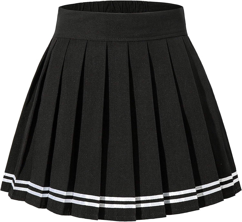 Abberrki Womens High Waisted Short Pleated Skirt School Uniform