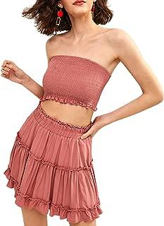 ZAFUL Women Two Piece Outfit Smocked Ruffles Bandeau Top and Skirt Set High Waist A line Mini Dress