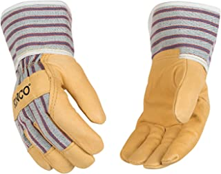 Kinco Kids' Grain Leather Palm with Safety Cuff Glove (2 Pair-Pack)