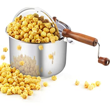 Cook N Home 02627 Stainless Steel Stovetop Popcorn Popper, 6 quart, Silver