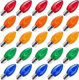 Minetom 25 Pack C9 Clear Replacement Bulbs for Christmas Lights, E17 C9 Intermediate Base Incandescent C9 Christmas Light Bulbs, 7-Watt, Multicolored