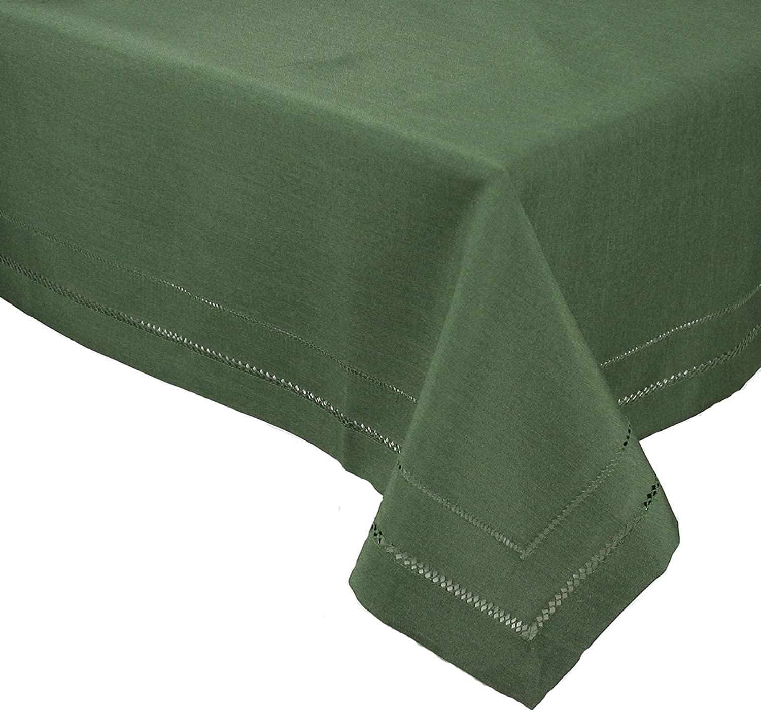 Xia Home Fashions Double Hemstitch Easy Care Tablecloth, 60 by 120-Inch, Pine