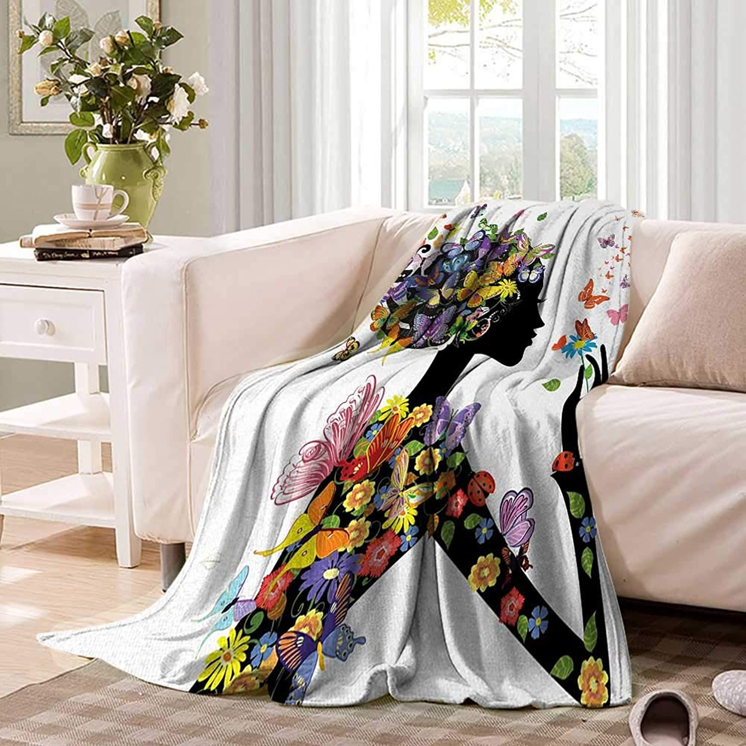 Butterfliesfluffy blanketGirl Fashion Flowers with Butterflies Ornamental Floral Foliage Nature Forestbed Blanket 60 x50  Multicolor