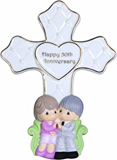 Precious Moments,  Through The Years – 50th Anniversary, Bisque Porcelain Cross With Stand, 123405