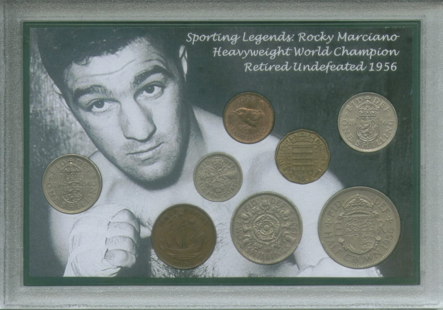 Rocky Marciano Sporting Legend Vintage Heavyweight Champion of the World Boxing Retro Coin Present Display Gift Set 1956