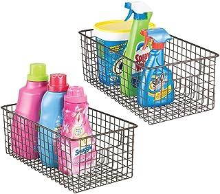 mDesign stockage produits d'entretien (lot de 2) – boîte de rangement pratique et polyvalente pour armoires – panier de ra...
