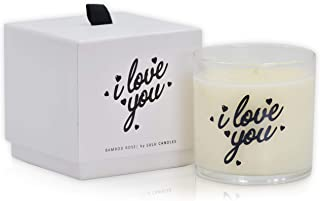 Lulu Candles | Bamboo Rose | I Love You | Luxury Scented Soy Jar Candles | Hand Poured in The USA | Highly Scented & Long Lasting | Small-6 Oz. with Gift Box