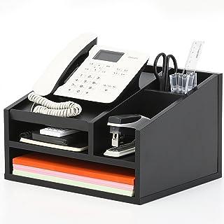 FITUEYES Drewniany organizer biurkowy na biurko 5 przegródek z tacą na listy stojak na telefon długopis uchwyt na ołówki