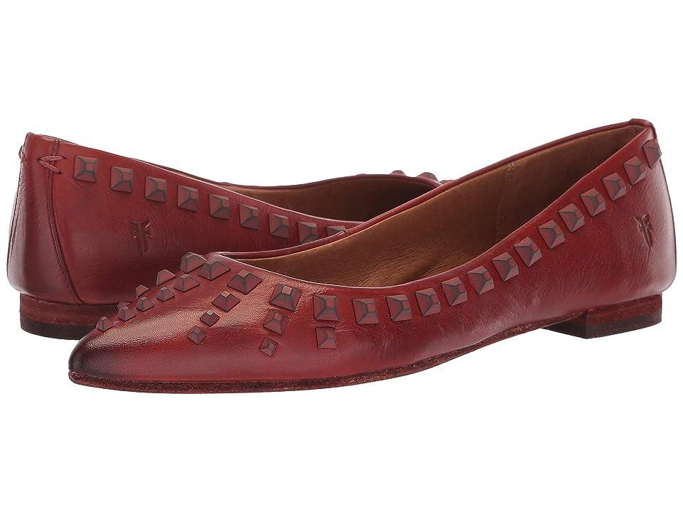 Frye Sienna Deco Stud Ballet (Red Clay Polished Soft Full Grain) Women
