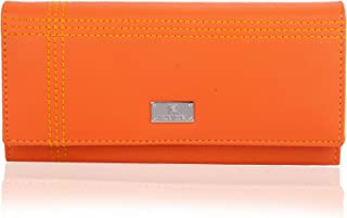 K London Orange & Yellow Women's Leather Wallet(1501_Orange)