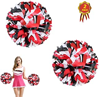 AUHOKY 2Pcs Plastic Cheerleading Pom Poms with Baton Handle, Premium Cheerleader Pompoms Kit, Cheering Hand Flowers for Sports Game Dance Fancy Dress Night Party (6 Inch)