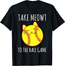 Funny Cat Lovers Softball Gifts Take Meowt To The Ball Game T-Shirt