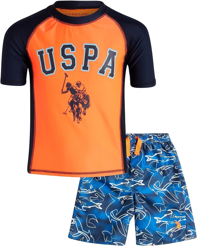 U.S. Polo Assn. Boys Swimwear - Rashguard Swim Shirt and Bathing Suit 2 Piece Set